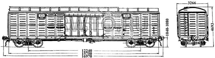 4-осный крытый вагон модель